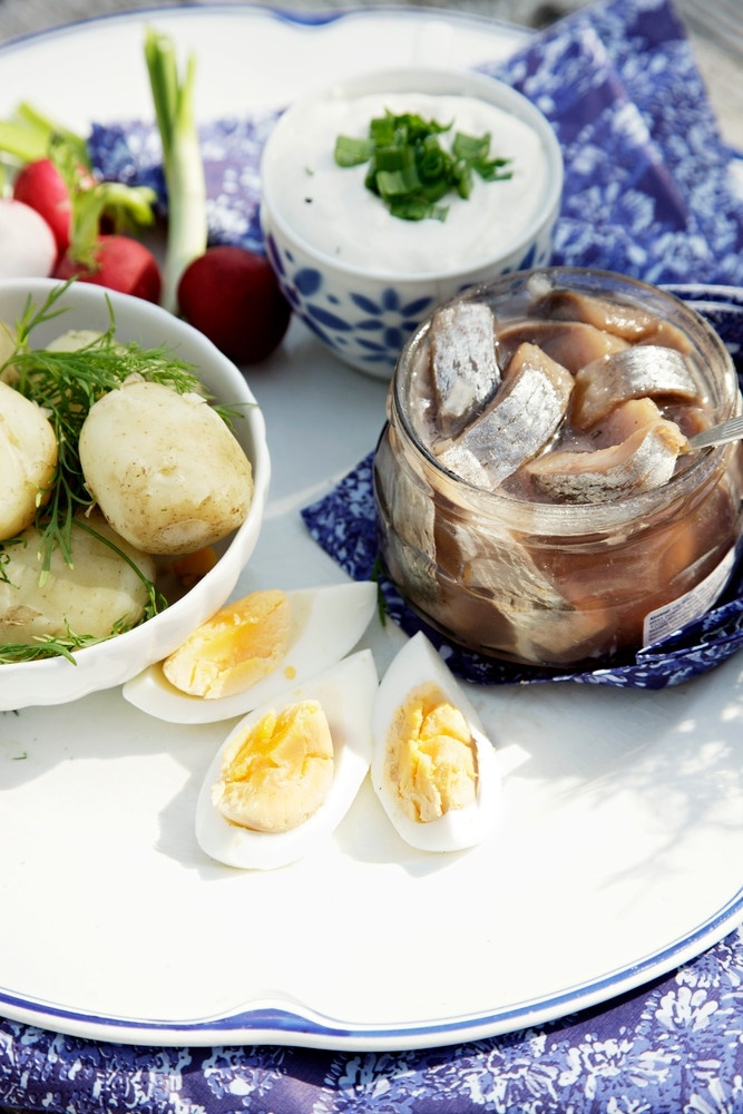Finnish summer food - new potatoes and herring.