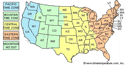 West Virginia time zone map