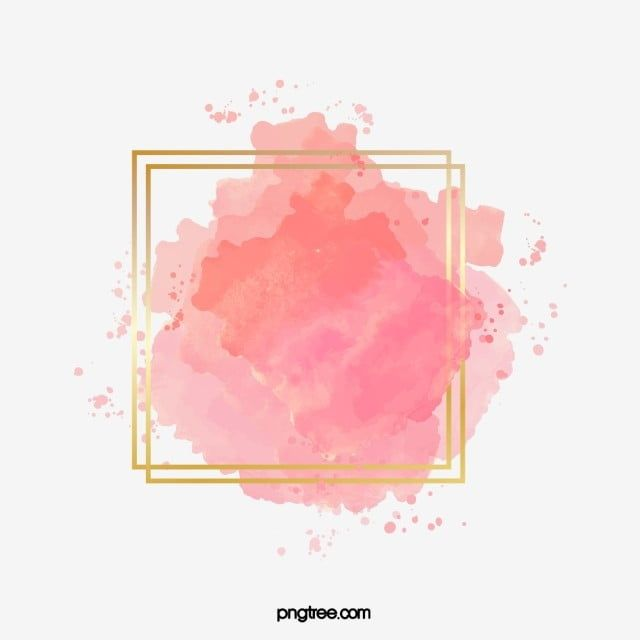 Pink Gradient Watercolor Brush Golden Border Brush Effect