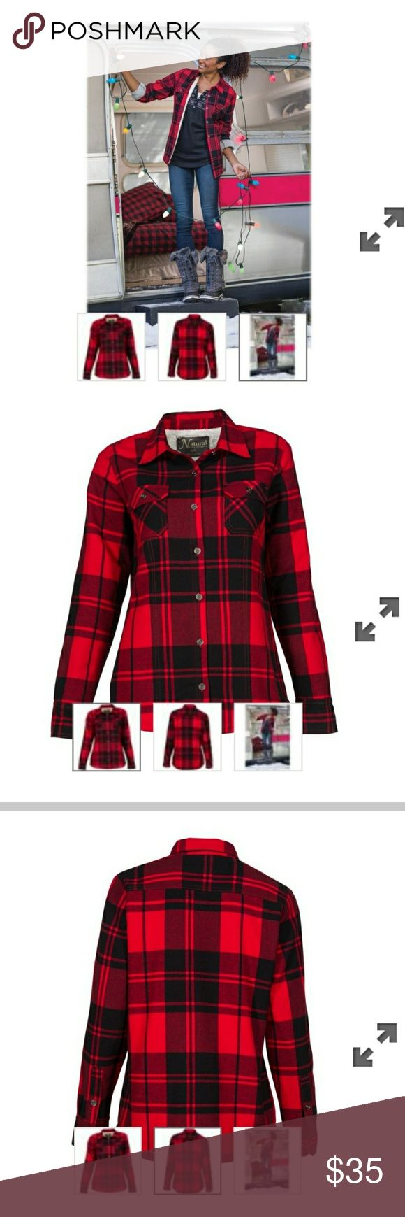 Natural Reflections Plaid sherpa lined jacket Natural Reflections® Flannel Shirt Jacket for women is lined with ultra-soft sherpa. Made of 100% cotton, this flannel jacket features a button-up front, 2 button-flap chest pockets, and princess seams for a figure-flattering fit. The sleeves have a comfortable lining of polyester taffeta. Machine wash. Imported.  Shell: 100% cottonLining: 100% polyesterButton-down front2 button-flap chest pocketsPrincess seams  Only worn a few times, jackets run…