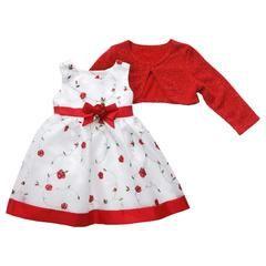 Infant & Toddler Girl's Mock Bolero Dress - Floral Vine - Sears