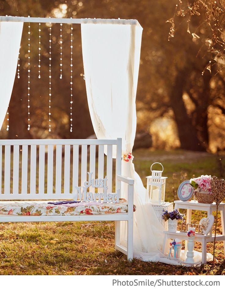 Foto Ecke weiße Bank für Hochzeitsfotos für Hochzeit