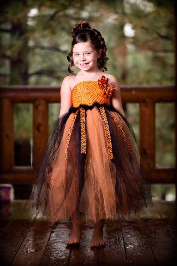 Newborn - 9 Years Halloween Orange and Black Zebra Tutu Dress with Removable Bow