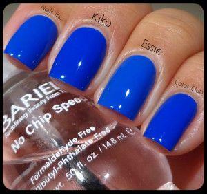Color Club Bright Night – Essie Butler Please – Kiko Electric Blue – Nails Inc. Baker Street
