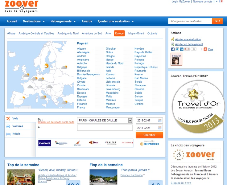 Site Web Zoover  www.zoover.fr