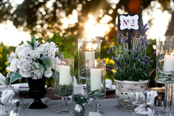 Flowers and candles - centre pieces