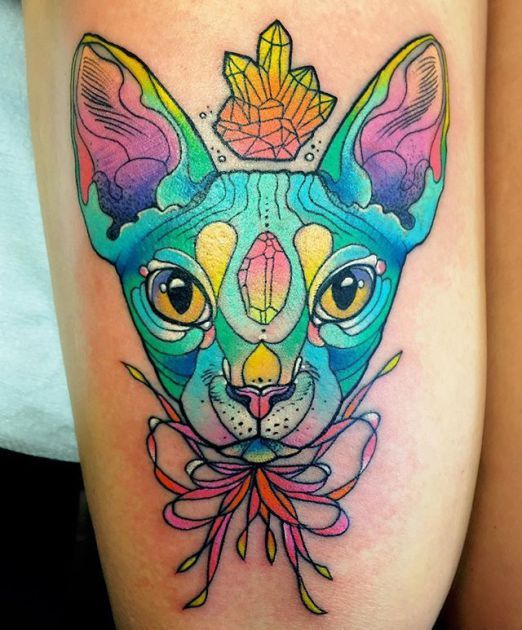 Sick color by Katie Shocrylas on this fierce kitty. #inked #inkedmag #psychedelic #tattoo #cat #kitty #colorful #art #idea #new
