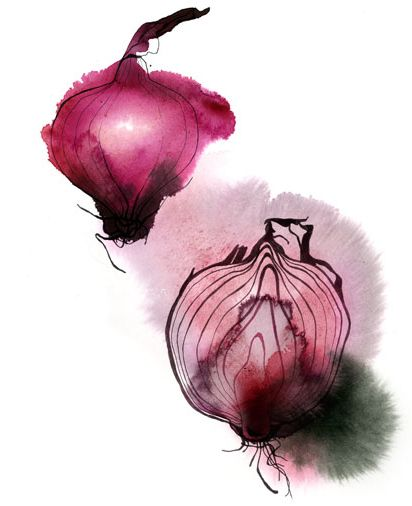 red onions watercolor by Christina Drejenstam - smeared, bleeding, black drawings