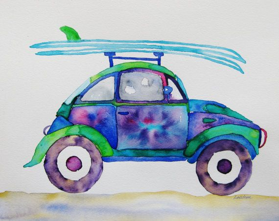 volkswagon bug surfboard watercolor painting by FascinationGallery