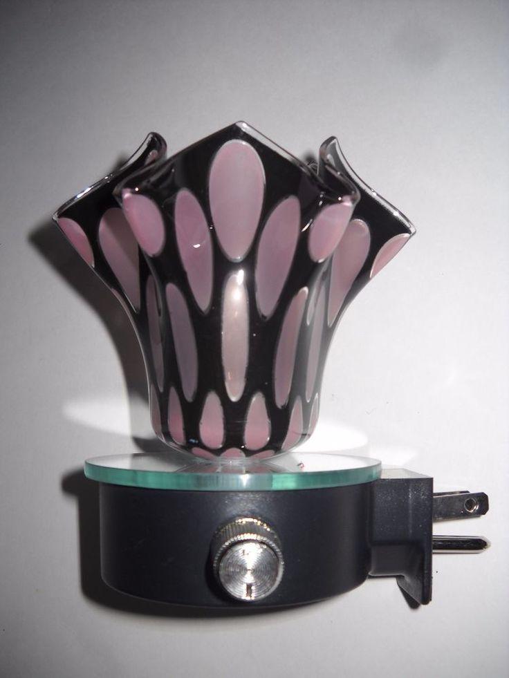 Aurora Mauve and Black Glass Electric Oil Warmer #Aurora