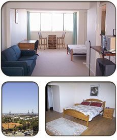 Ord Street Apartments, Fremantle, Western Australia.  Enjoy 180° views over Fremantle and Indian Ocean offering magical sunsets.  These studio apartments are high on the hill in Fremantle nestled in front of the war memorial with Rottnest and Garden Islands views. Ideally suited for 1 to 2 people, there is a Queen bed plus a sofa bed in the living area which can sleep 2 children.  The Free CAT bus passes close by and free parking for 1 car.
