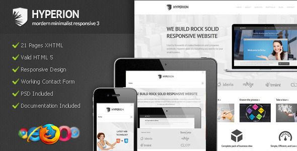 Hyperion - Modern Minimalist Responsive 3   http://themeforest.net/item/hyperion-modern-minimalist-responsive-3/2948585?ref=damiamio       Hyperion Is Modern Minimalist Responsive HTML template 3. Theme features many convenient options that will make customization easy and fun. The theme comes with four different home page and the new generation minimalist modern is fully responsive. Equipped the documentation is easy to read and understand   Live Demo : Hyperion – Modern Minimalist…