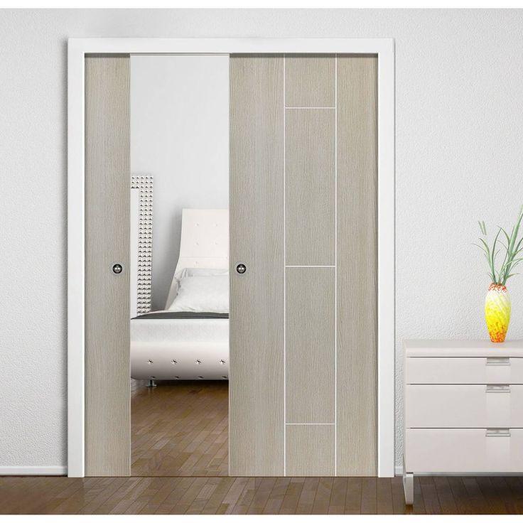 Double Pocket Nuance Viridis sliding door system in three size widths. #paintedpocketdoor #pocketdoors #interanlpocketdoors