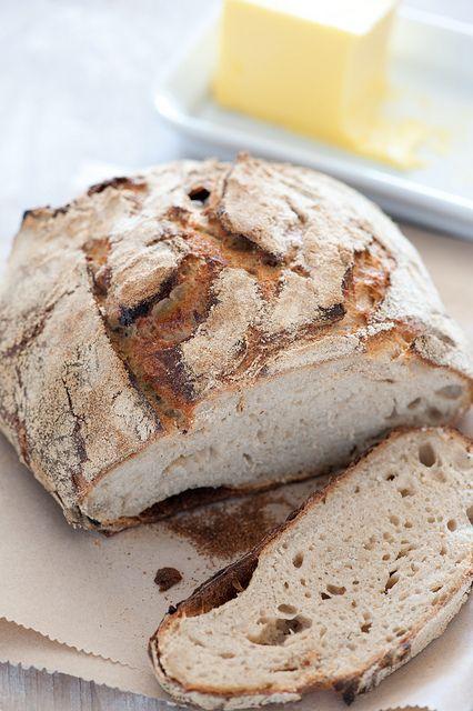 rustic homemade sourdough bread and