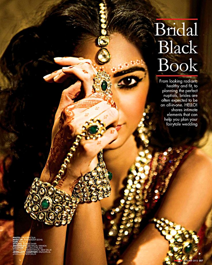 Incorporate Indian Influences. Gold jewelry and sequined embroidery.