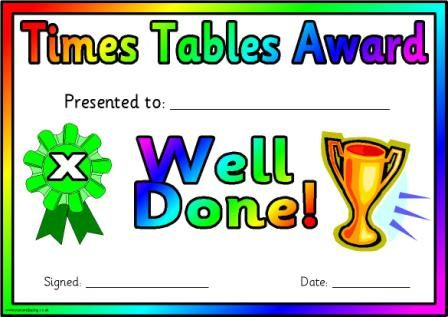 Free printable times tables award certificates.  One certificate for each of the tables from 2 - 12 plus a general certificate.