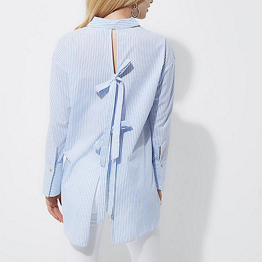 Blue stripe bow back oversized shirt