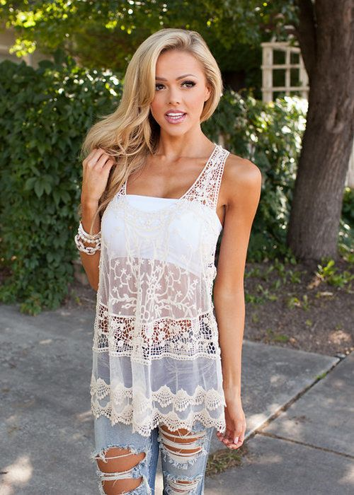 Cream Crochet and Lace Top! Restock, Tank, Online Shopping, Online Boutique, Fashion, Modern Vintage Boutique, Lace, Tank Top, Crochet Top