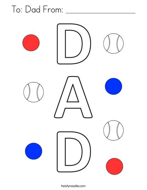 To: Dad From: _________________ Coloring Page - Twisty ...