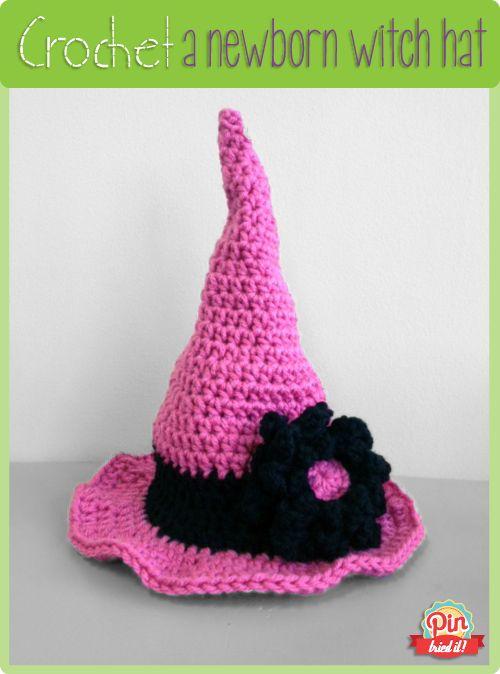 Newborn Crochet Witch Hat Pattern : Crocheted Halloween Witch Hat (Newborn) - PinTriedIt ...