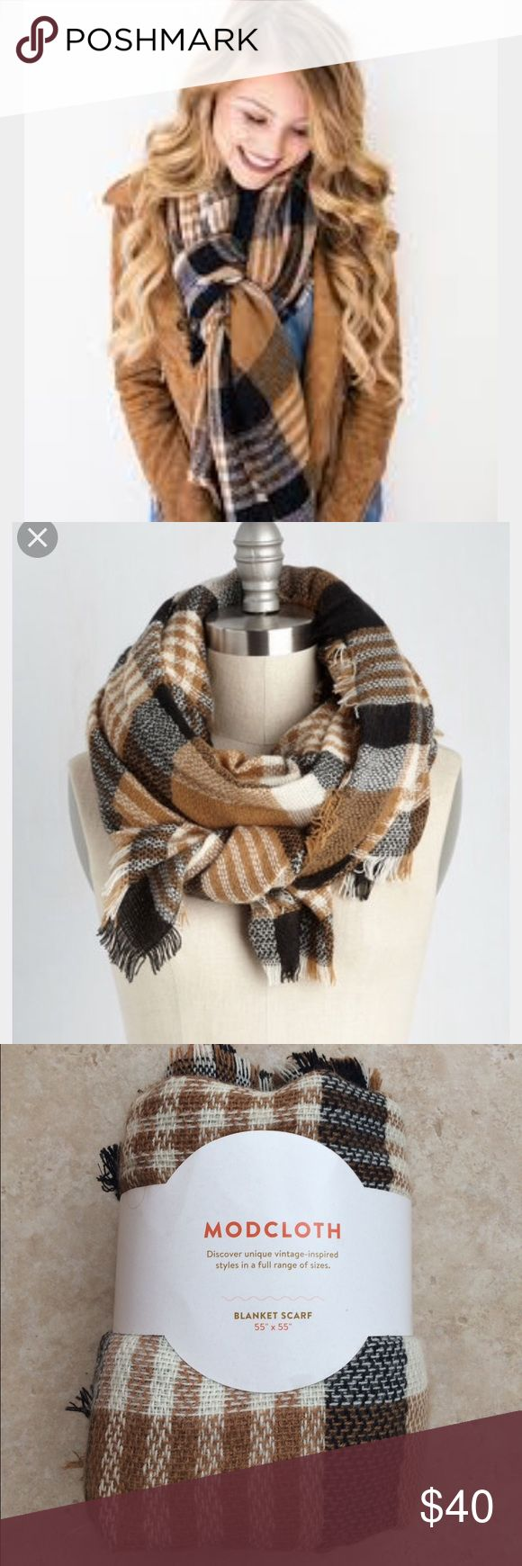 Modcloth Scarf Modcloth Loch and Key Scarf. Soft. This scarf is black, tan,cream. ModCloth Accessories Scarves & Wraps
