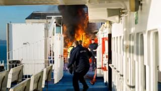 Solent ferry fire prompts Wightlink smoking ban