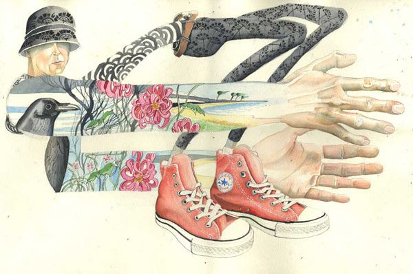 conversedancer1 Converse, Tattooed Dancer watercolour illustration