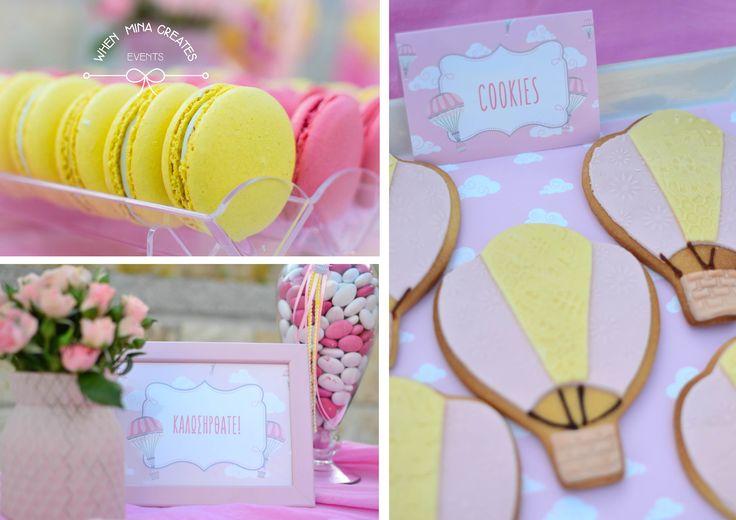 hot air balloon candy bar details / βάπτιση αερόστατο σε ροζ και κίτρινο