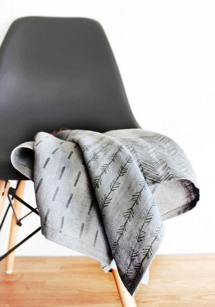 Geschirrtücher - Geschirrtuch Leinen, handbedruckt - ein Designerstück von halfbird bei DaWanda