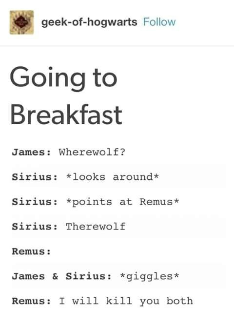 Remus being personally victimised by James & Sirius' puns
