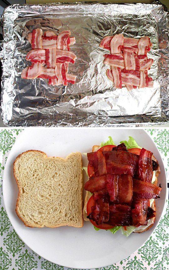 Wer kennt das nicht - man macht sich einen Burger oder ein Sandwich und der Bacon rutsch immer hin & her und nur bei jedem zweiten Bissen erwischt man ihn :) Hier die perfekte Idee: Bacongitter legen, auf Alufolie ausbreiten & ab in den Backofen, bei 180Grad bis er schön kross ist.