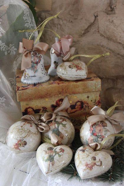 Новый год 2014 ручной работы. Ярмарка Мастеров - ручная работа Набор новогодних ёлочных игрушек Ангелы в картонной коробке. Handmade.