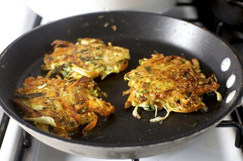 "Japanese vegetable fritters (cabbage, carrot, kale) with a tasty sounding sauce as an alternate idea for vegetarian ""mirelurk cakes"""