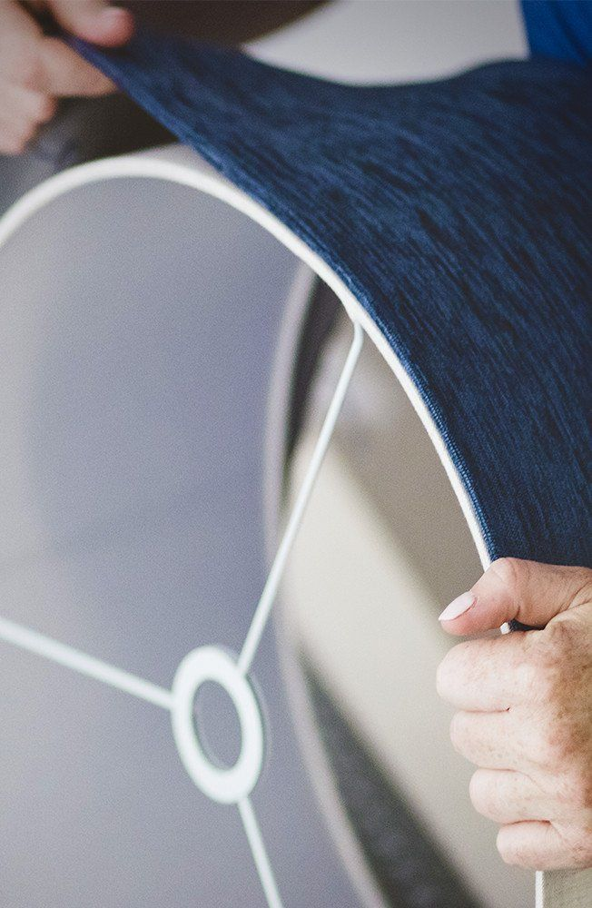 Cold winter months call for fun indoor projects for living rooms! We think you'll love this DIY that breaks down how to cover a lampshade. #fiskars #diy #homedecor