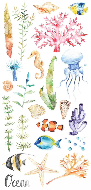 Watercolor Ocean set - Illustrations - 3