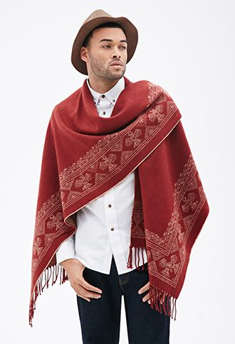 Southwestern-Patterned Poncho | FOREVER 21 | Men's Fall ...