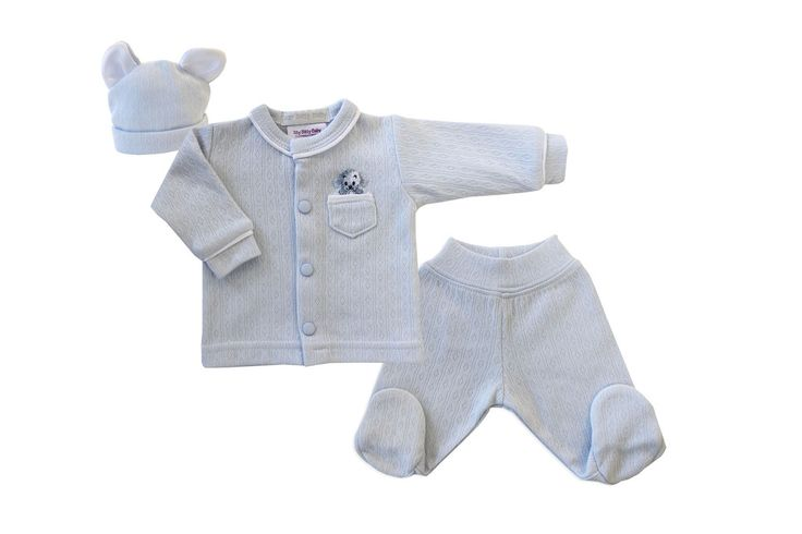 Matching eared hat, snap front top with a puppy embroidered and footed pants. Available in micro-preemie sizes.