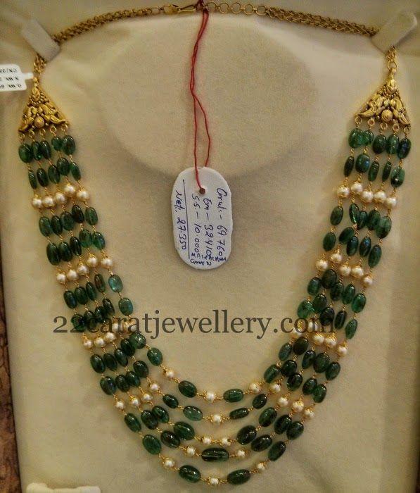 Emeralds Pearls Haram 70gms - Jewellery Designs
