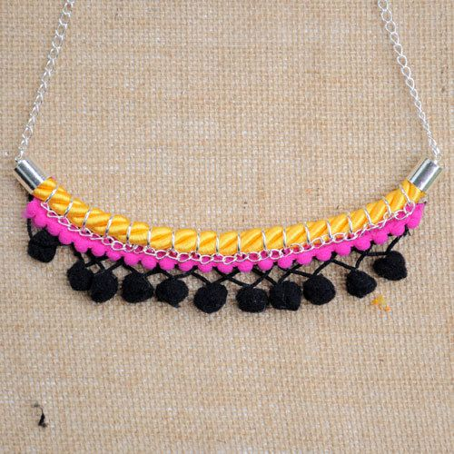 Pink Black and Yellow Pom-pom Necklace on Etsy, $39.99 AUD