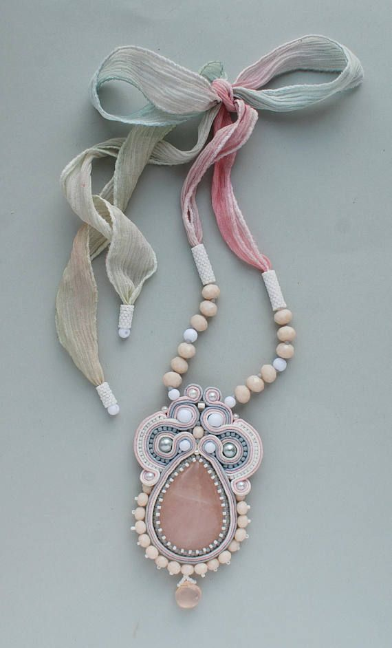 Soutache pendant, Pink, grey, beige and white pendant with rose quartz, Embroidery pendant, Beaded pendant, Soutache jewelry, FREE SHIPPING