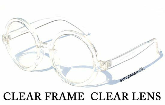 Clear round frame big nerd hipster clear lens glasses ...
