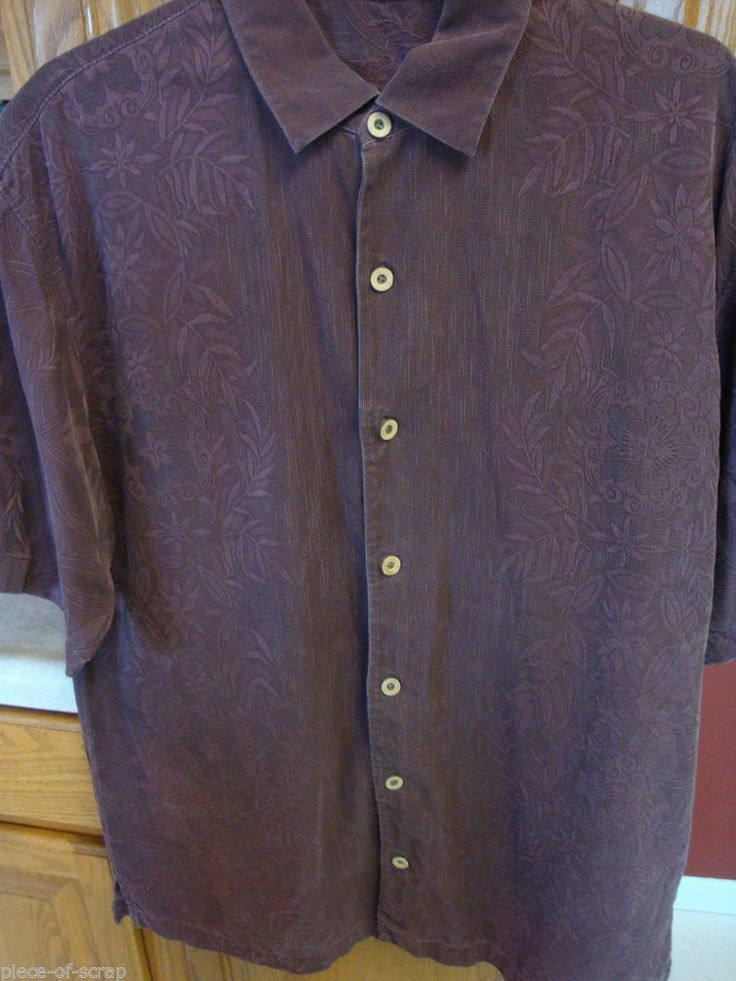 TOMMY BAHAMA Men's 100% Silk Shirt L Large Purple Floral Imprint Short Sleeve #TommyBahama #ButtonFront