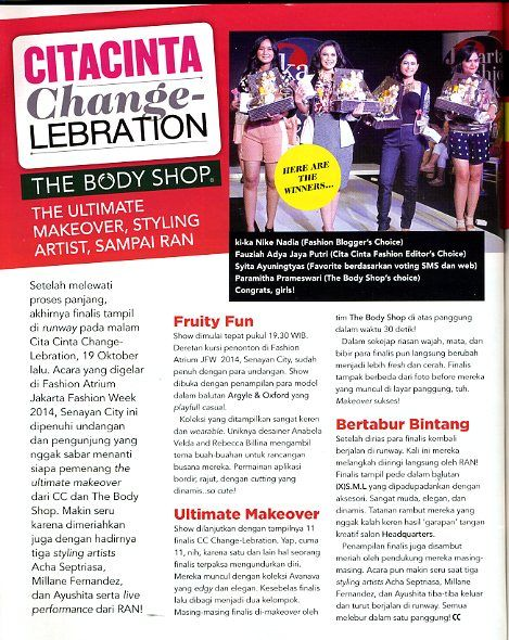 (X)S.M.L with Cita Cinta Change-lebration JFW 2013 article is appeared on Cita Cinta - 13-27 November 2013