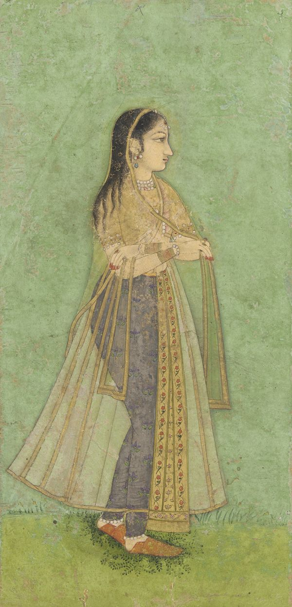 Woman standing 17th century Mughal dynasty  Color and gold on paper H: 12.7 W: 6.3 cm India