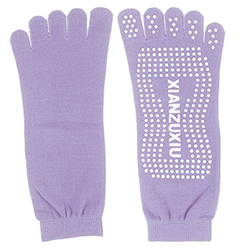 Xianzuxiu Yoga Socks Sport Fitness Socks Fashion Five Toe socks Pure purple -- Click image for more details. (This is an affiliate link) #YogaSocks