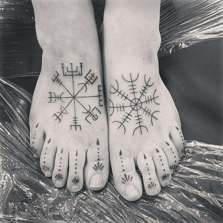 Love my new feet.... Bootiful xxx #tattoo #inked #Vikings #vegvisir #aegishjalmur