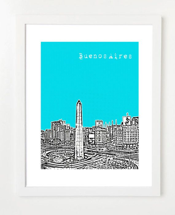Buenos Aires Argentina Art Poster - City Skyline Series Art Print - Obelisco de Buenos Aires - VERSION 2