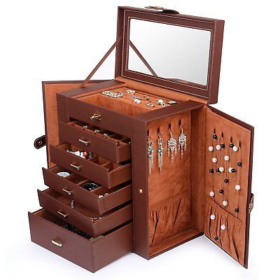 Kendal Huge Leather Jewelry Box / Case / Storage LJC-SHD5BN (Brown) s5