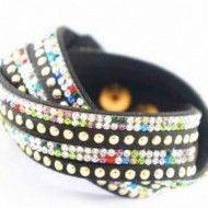 Bracelet Black with Golden Rows and Rhinestone Rainbow