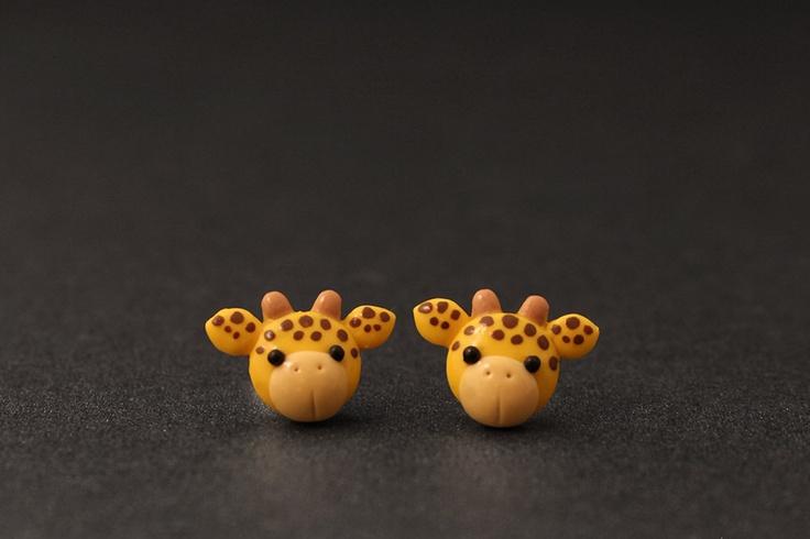 Giraffe Earrings Safari Animals Cute Clay Creations by PixieHearts